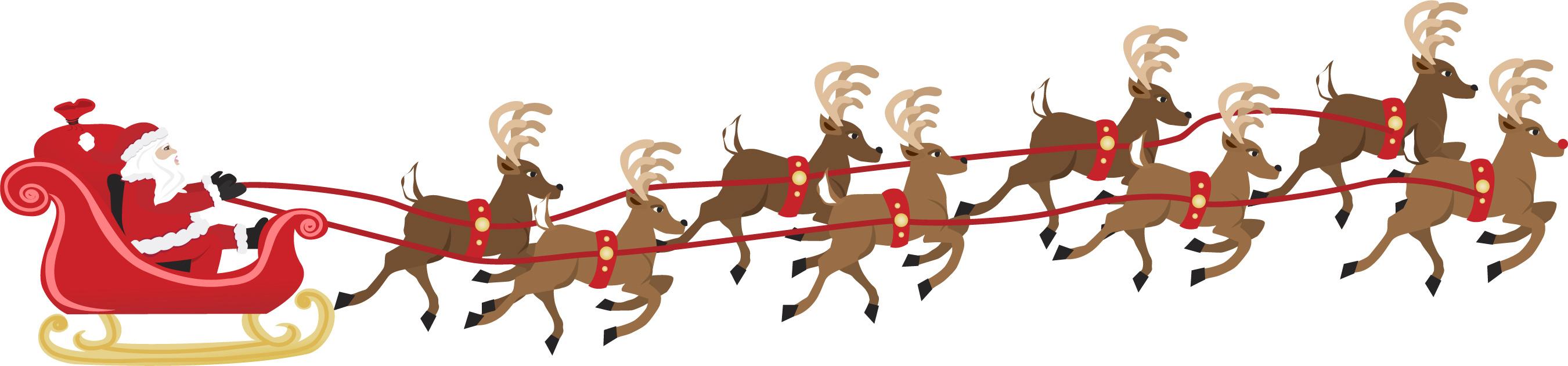 reindeers pulling sleigh graphic little wonderland childcare